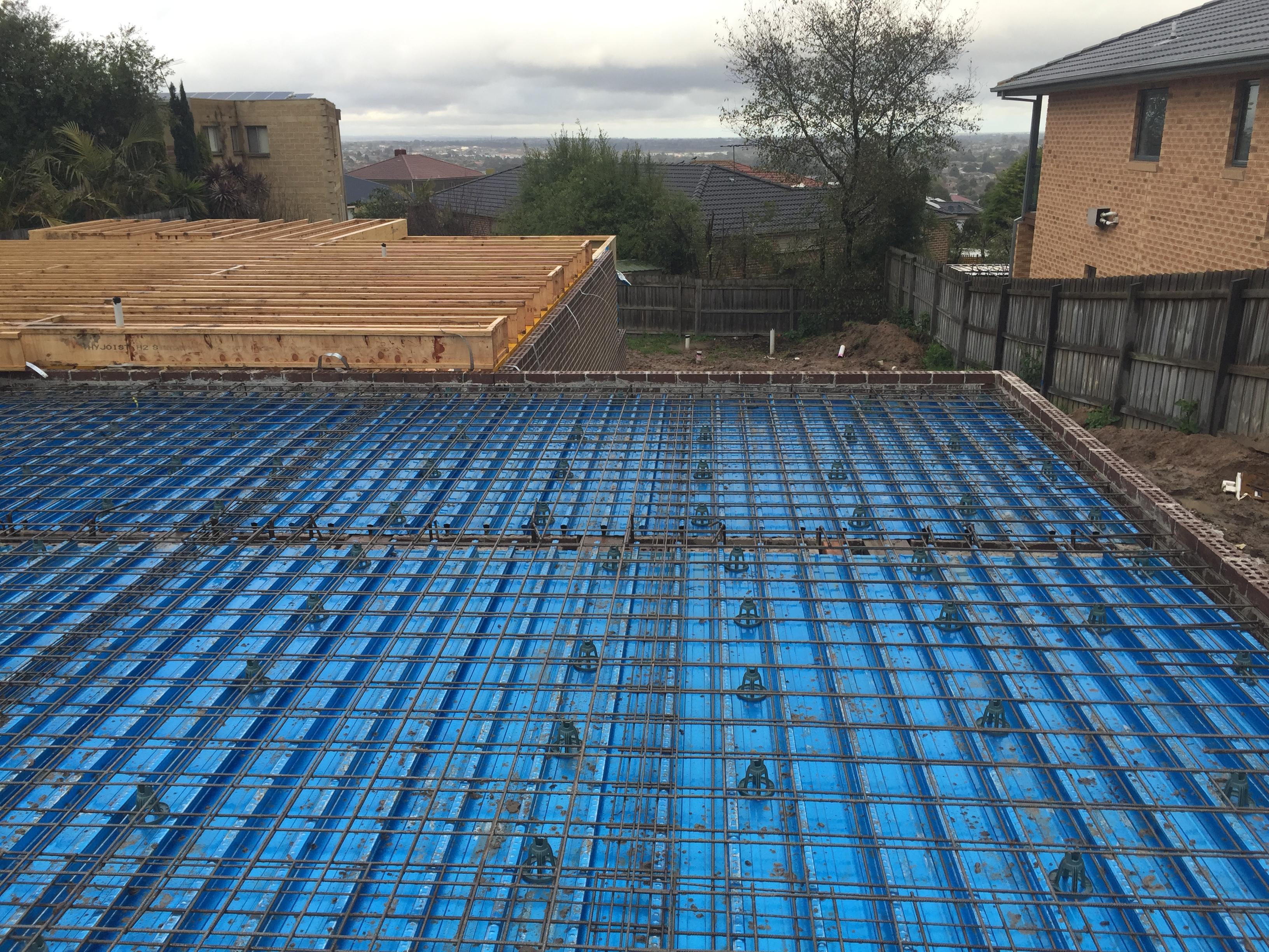 Reinforced Concrete Slab : Prior to steel reinforced concrete or sub floor stumps